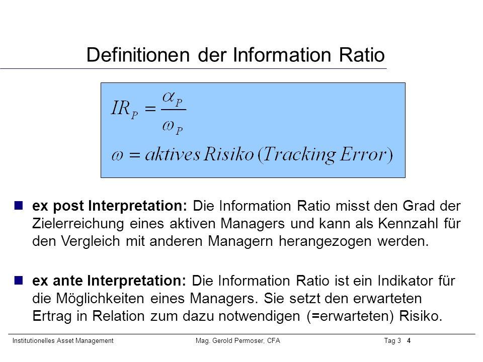 Definitionen der Information Ratio