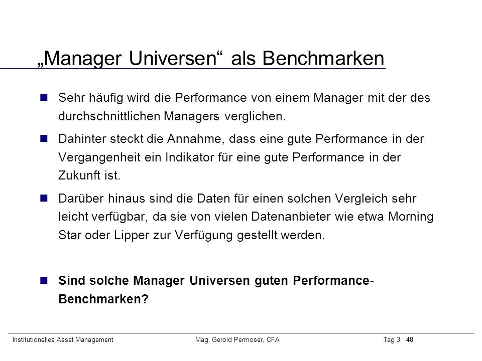 """""""Manager Universen als Benchmarken"""