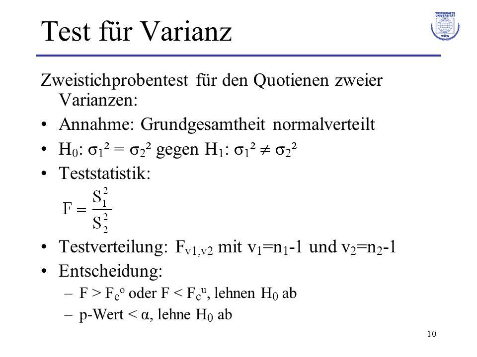 Test für Varianz Zweistichprobentest für den Quotienen zweier Varianzen: Annahme: Grundgesamtheit normalverteilt.