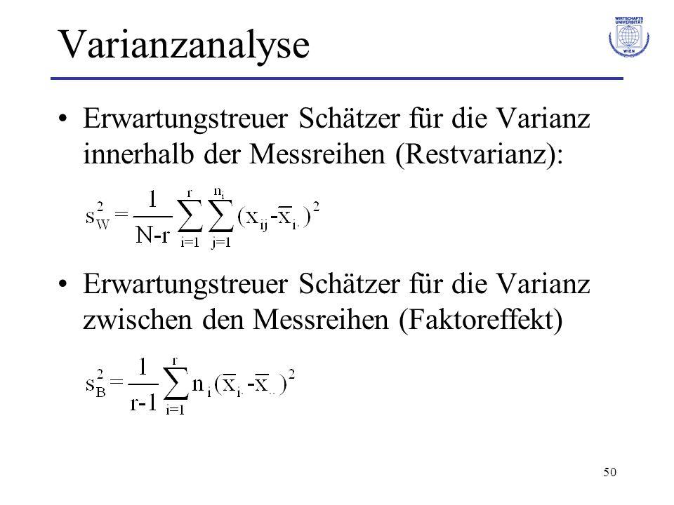 Varianzanalyse Erwartungstreuer Schätzer für die Varianz innerhalb der Messreihen (Restvarianz):