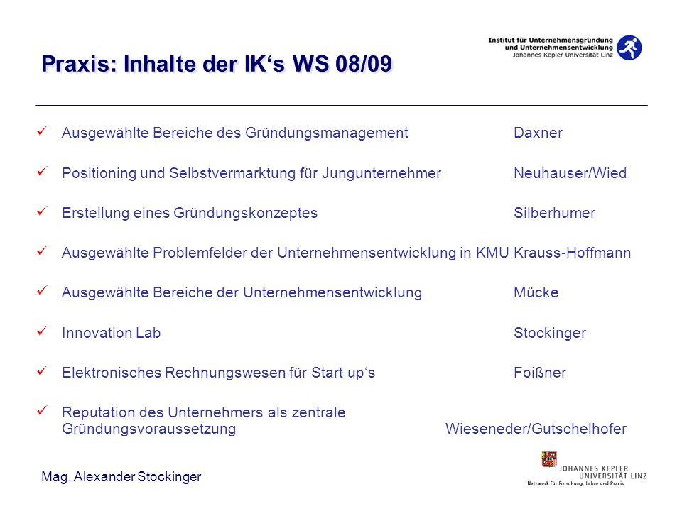 Praxis: Inhalte der IK's WS 08/09