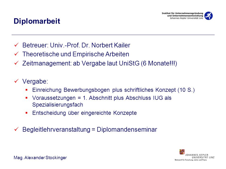 Diplomarbeit Betreuer: Univ.-Prof. Dr. Norbert Kailer