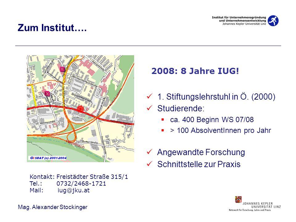 Zum Institut…. 2008: 8 Jahre IUG! 1. Stiftungslehrstuhl in Ö. (2000)