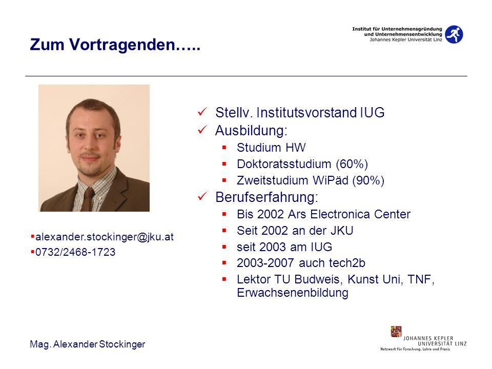 Zum Vortragenden….. Stellv. Institutsvorstand IUG Ausbildung: