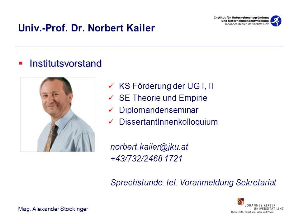 Univ.-Prof. Dr. Norbert Kailer