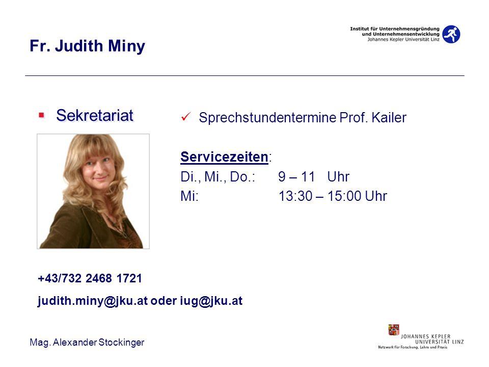 Fr. Judith Miny Sekretariat Sprechstundentermine Prof. Kailer