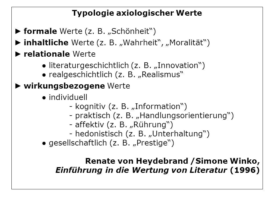 Typologie axiologischer Werte