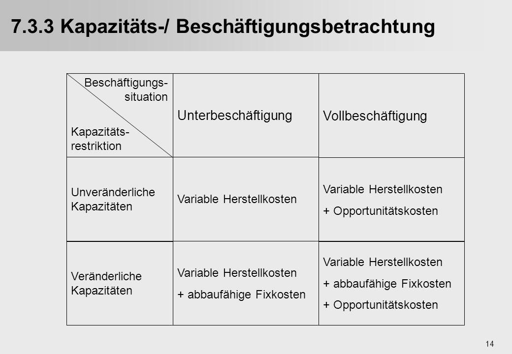 7.3.3 Kapazitäts-/ Beschäftigungsbetrachtung