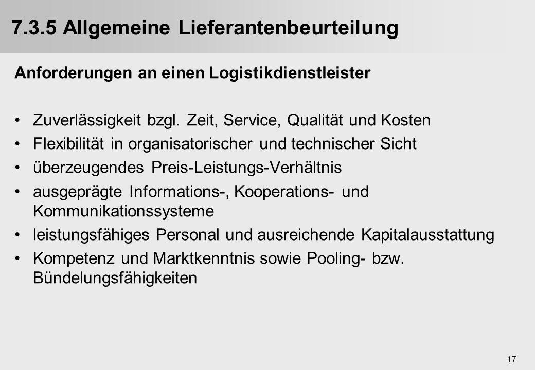 7.3.5 Allgemeine Lieferantenbeurteilung