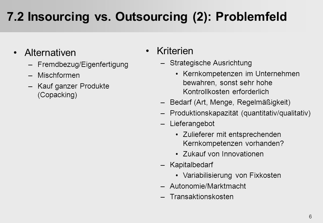 7.2 Insourcing vs. Outsourcing (2): Problemfeld