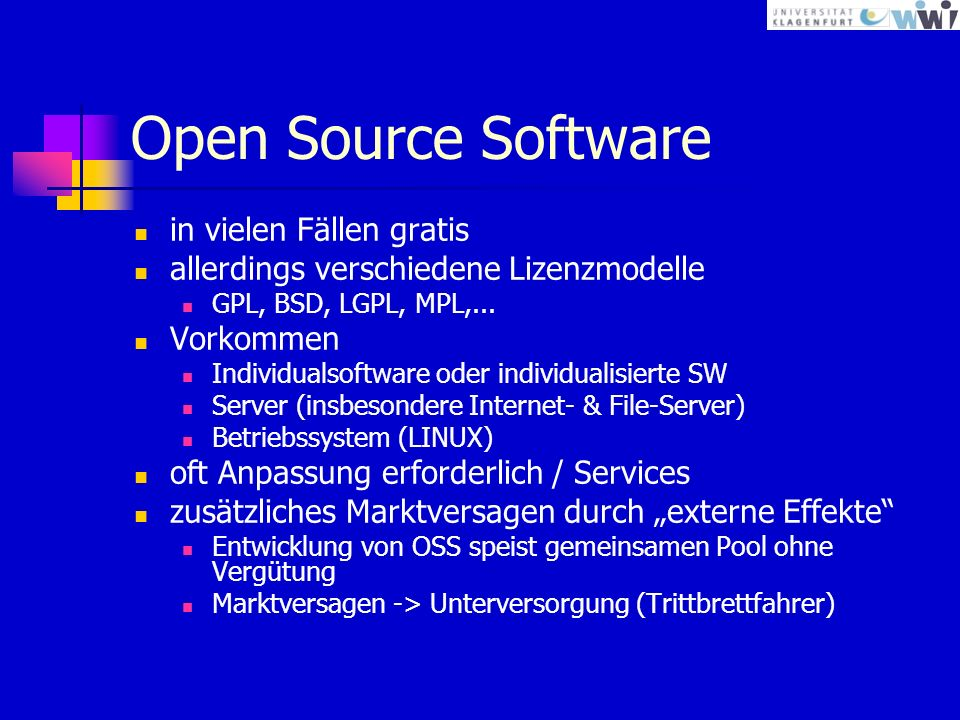 Open Source Software in vielen Fällen gratis