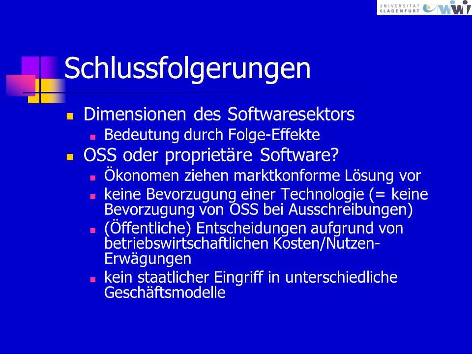 Schlussfolgerungen Dimensionen des Softwaresektors