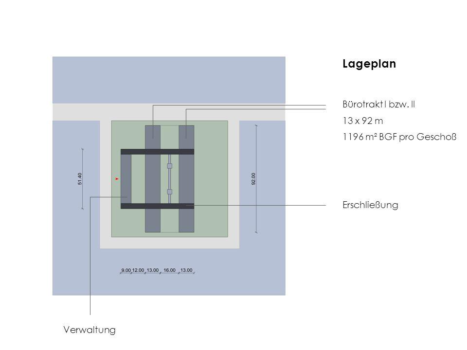 Lageplan Bürotrakt I bzw. II 13 x 92 m 1196 m² BGF pro Geschoß