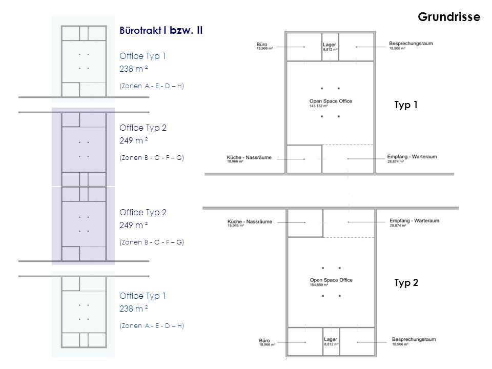 Grundrisse Bürotrakt I bzw. II Typ 1 Typ 2 Office Typ 1 238 m ²