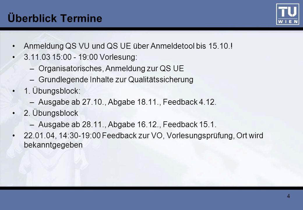 Überblick Termine Anmeldung QS VU und QS UE über Anmeldetool bis 15.10.! 3.11.03 15:00 - 19:00 Vorlesung: