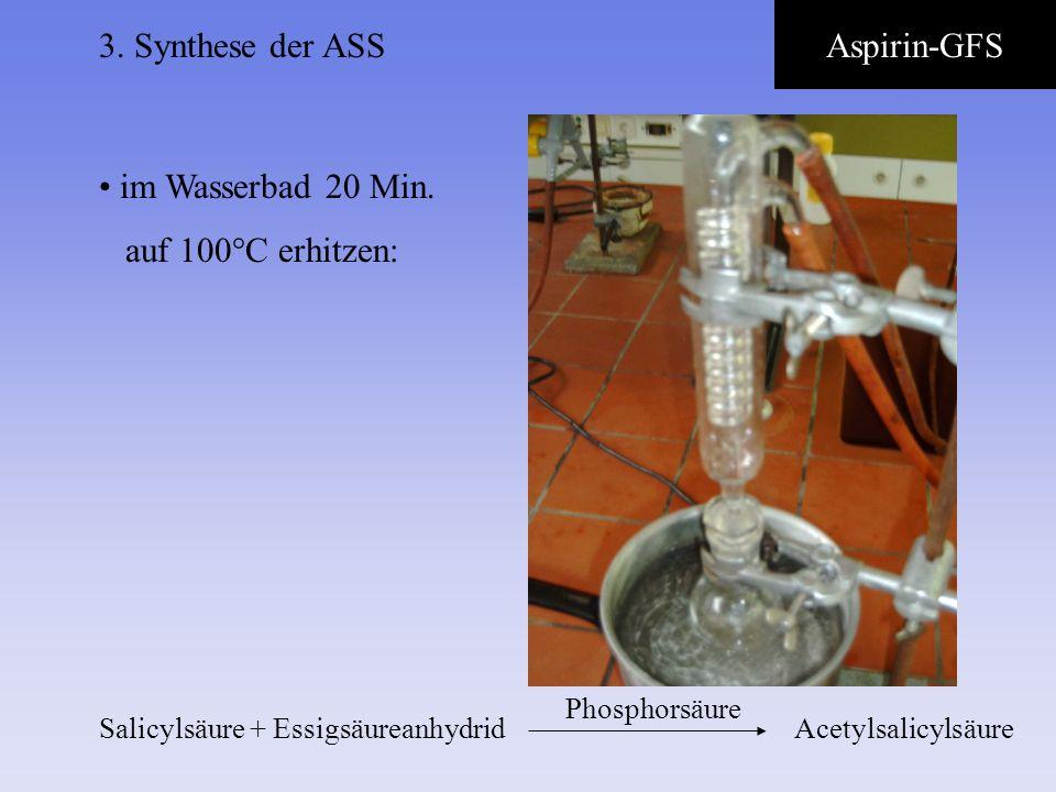3. Synthese der ASS Aspirin-GFS im Wasserbad 20 Min.