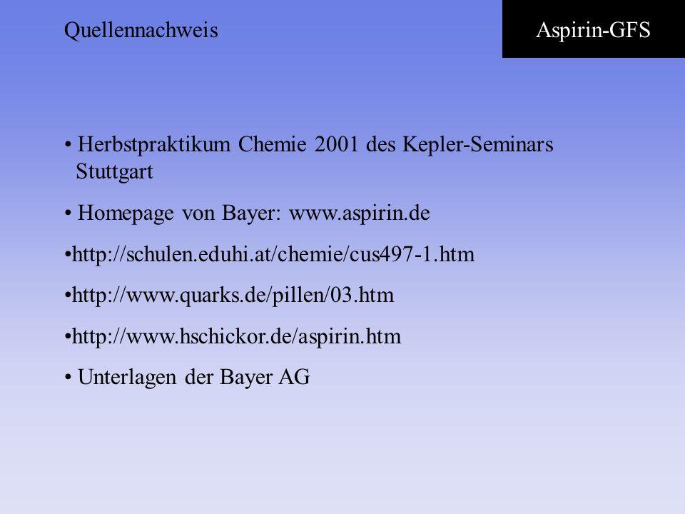 QuellennachweisAspirin-GFS. Herbstpraktikum Chemie 2001 des Kepler-Seminars Stuttgart. Homepage von Bayer: www.aspirin.de.