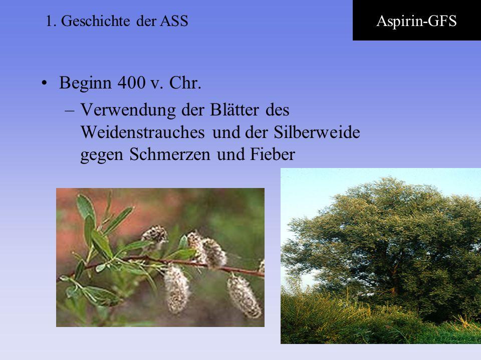 1.Geschichte der ASSAspirin-GFS. Beginn 400 v. Chr.