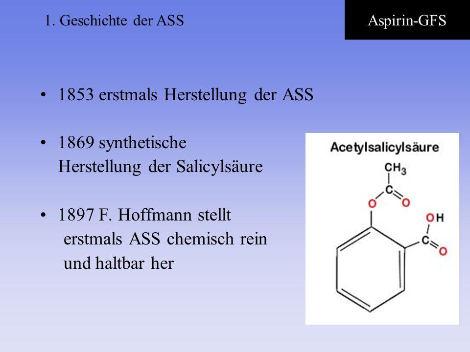 1853 erstmals Herstellung der ASS 1869 synthetische