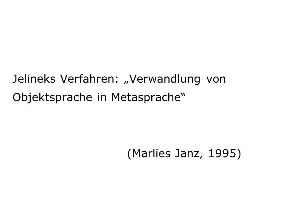 """Jelineks Verfahren: """"Verwandlung von Objektsprache in Metasprache"""