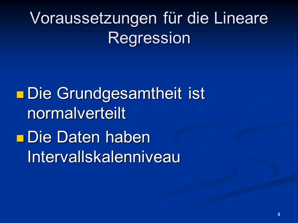 Voraussetzungen für die Lineare Regression