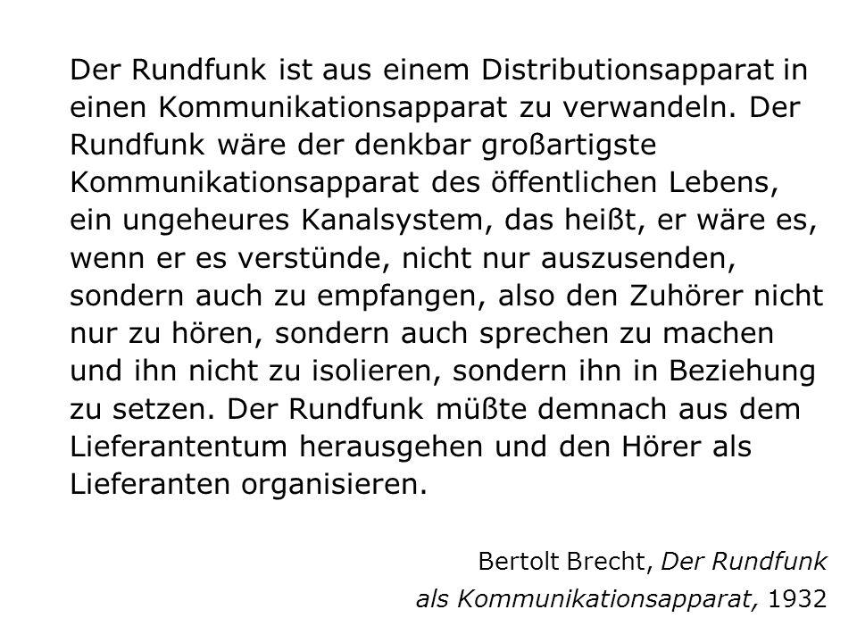 Bertolt Brecht, Der Rundfunk als Kommunikationsapparat, 1932