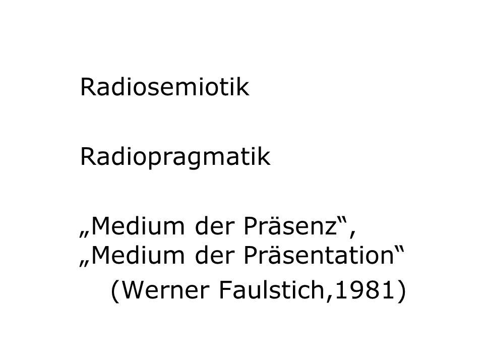 Radiosemiotik Radiopragmatik.