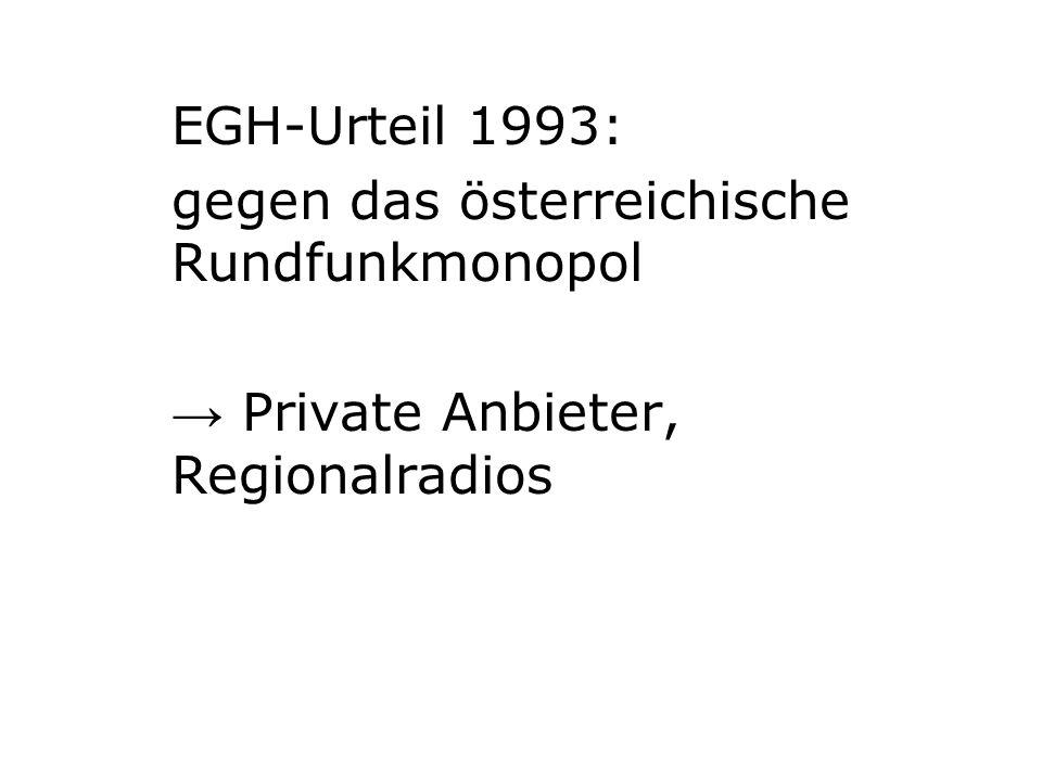 EGH-Urteil 1993: gegen das österreichische Rundfunkmonopol → Private Anbieter, Regionalradios