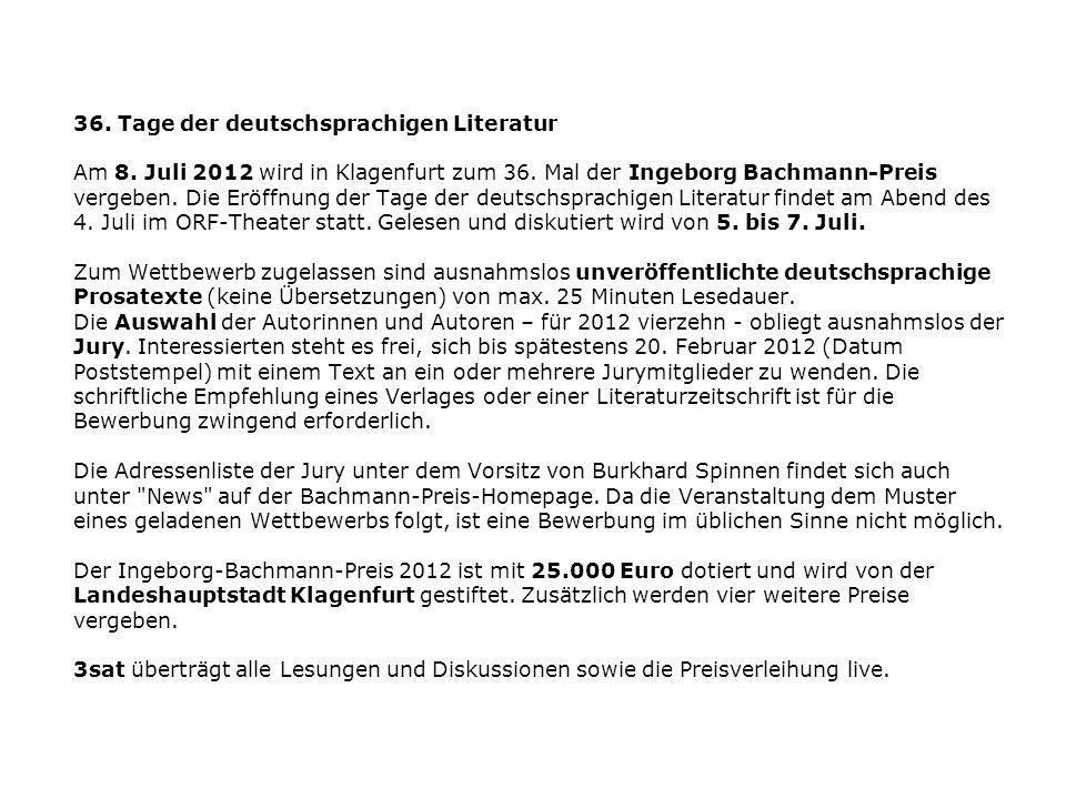 36. Tage der deutschsprachigen Literatur Am 8