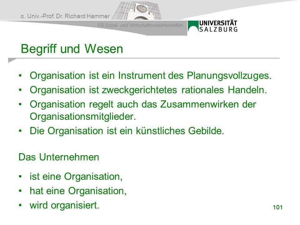 Begriff und Wesen Organisation ist ein Instrument des Planungsvollzuges. Organisation ist zweckgerichtetes rationales Handeln.