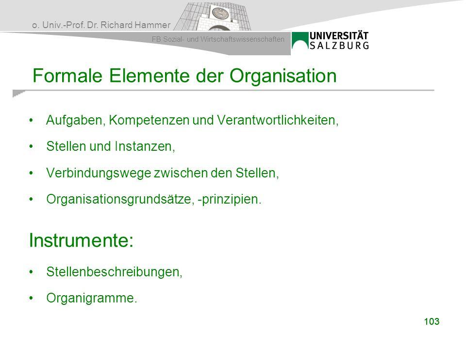 Formale Elemente der Organisation