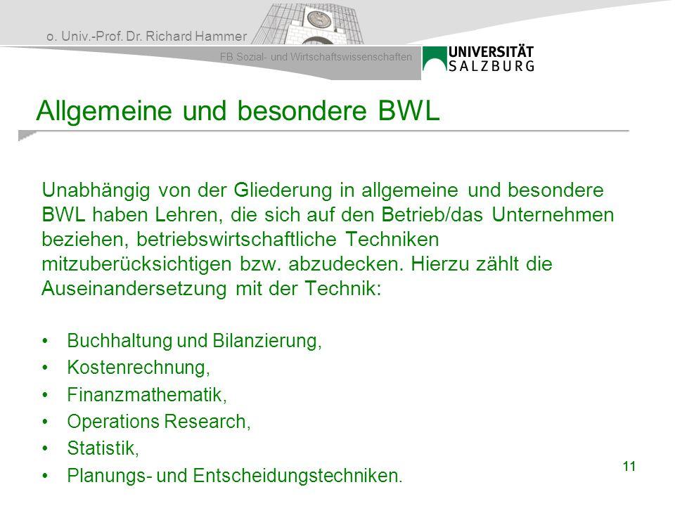 Allgemeine und besondere BWL