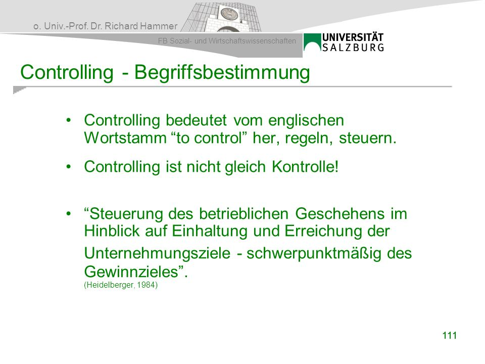 Controlling - Begriffsbestimmung