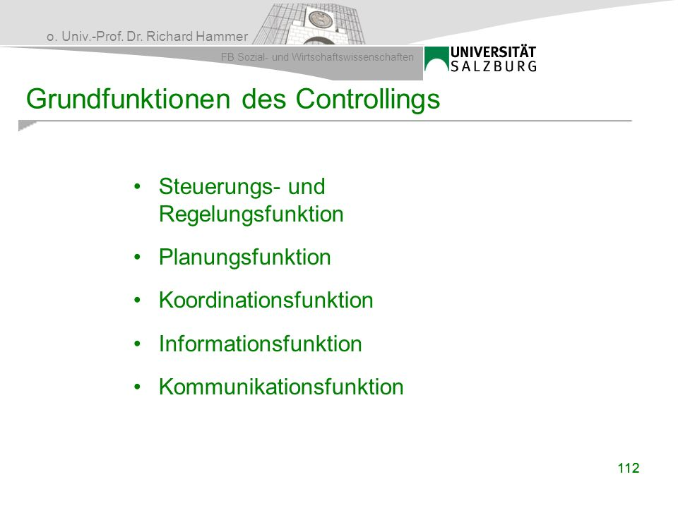 Grundfunktionen des Controllings