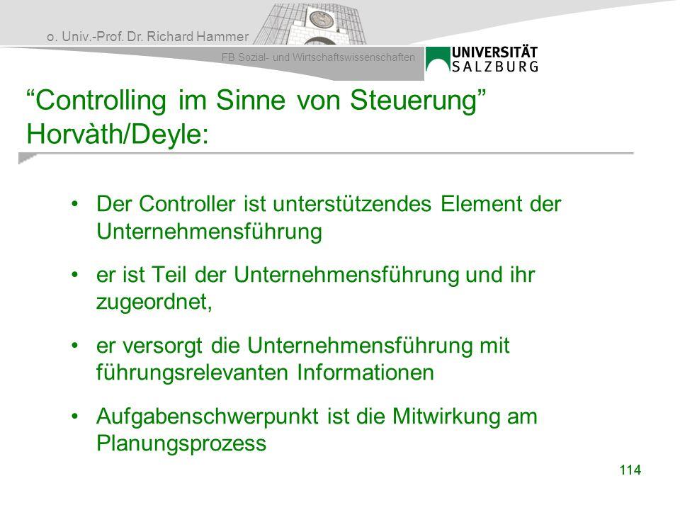 Controlling im Sinne von Steuerung Horvàth/Deyle:
