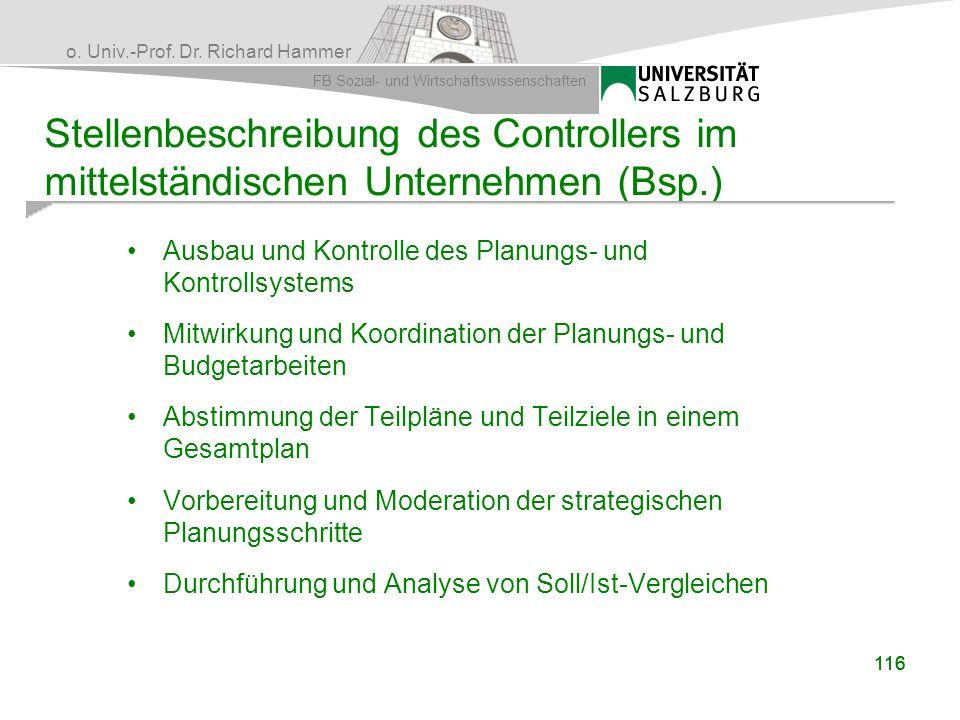 Stellenbeschreibung des Controllers im mittelständischen Unternehmen (Bsp.)