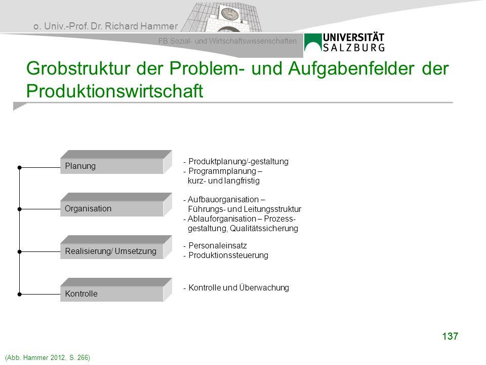 Grobstruktur der Problem- und Aufgabenfelder der Produktionswirtschaft