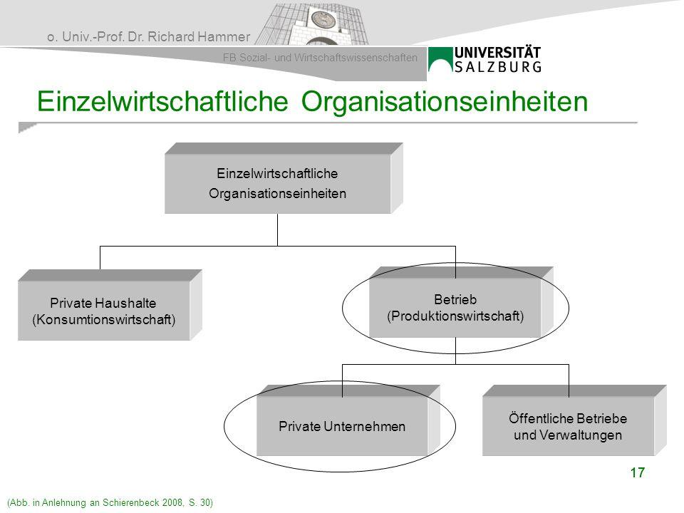 Einzelwirtschaftliche Organisationseinheiten