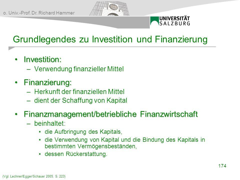 Grundlegendes zu Investition und Finanzierung