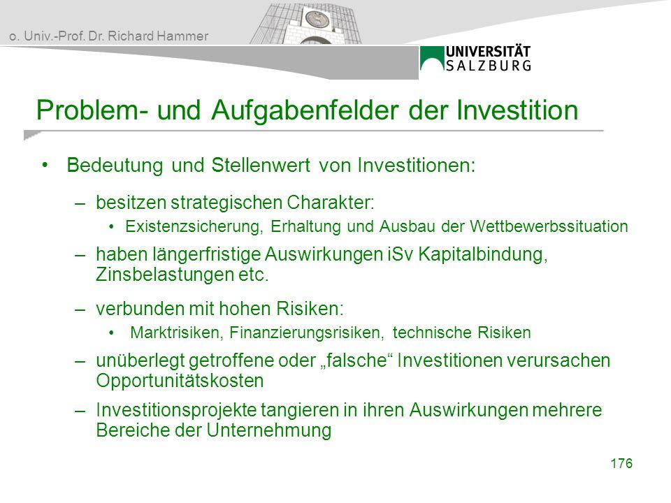 Problem- und Aufgabenfelder der Investition