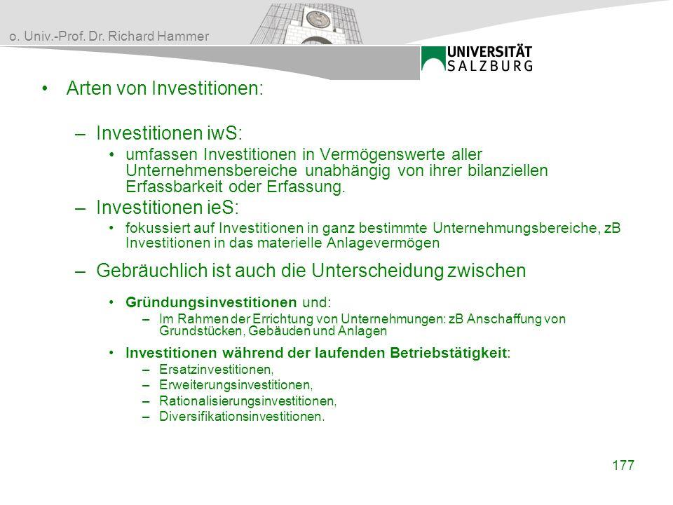Arten von Investitionen: Investitionen iwS: