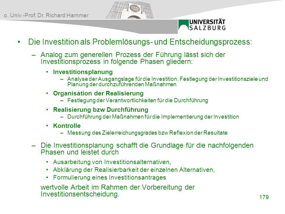 Die Investition als Problemlösungs- und Entscheidungsprozess: