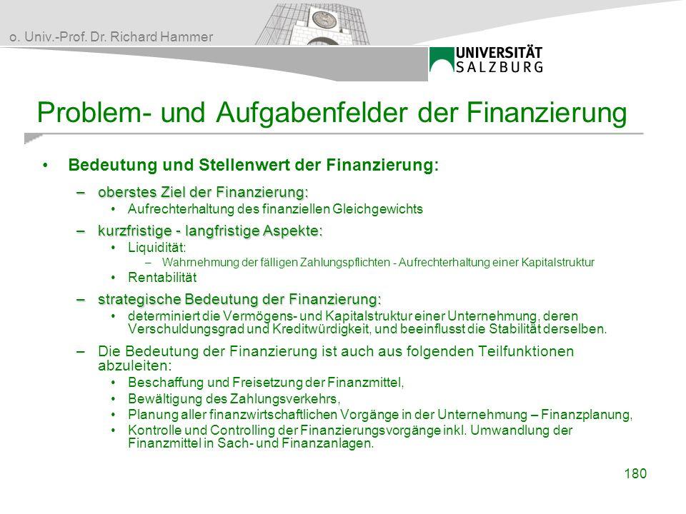 Problem- und Aufgabenfelder der Finanzierung
