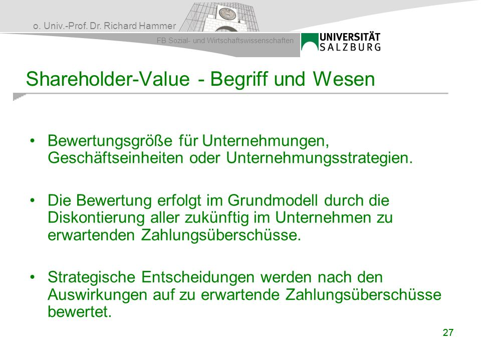 Shareholder-Value - Begriff und Wesen