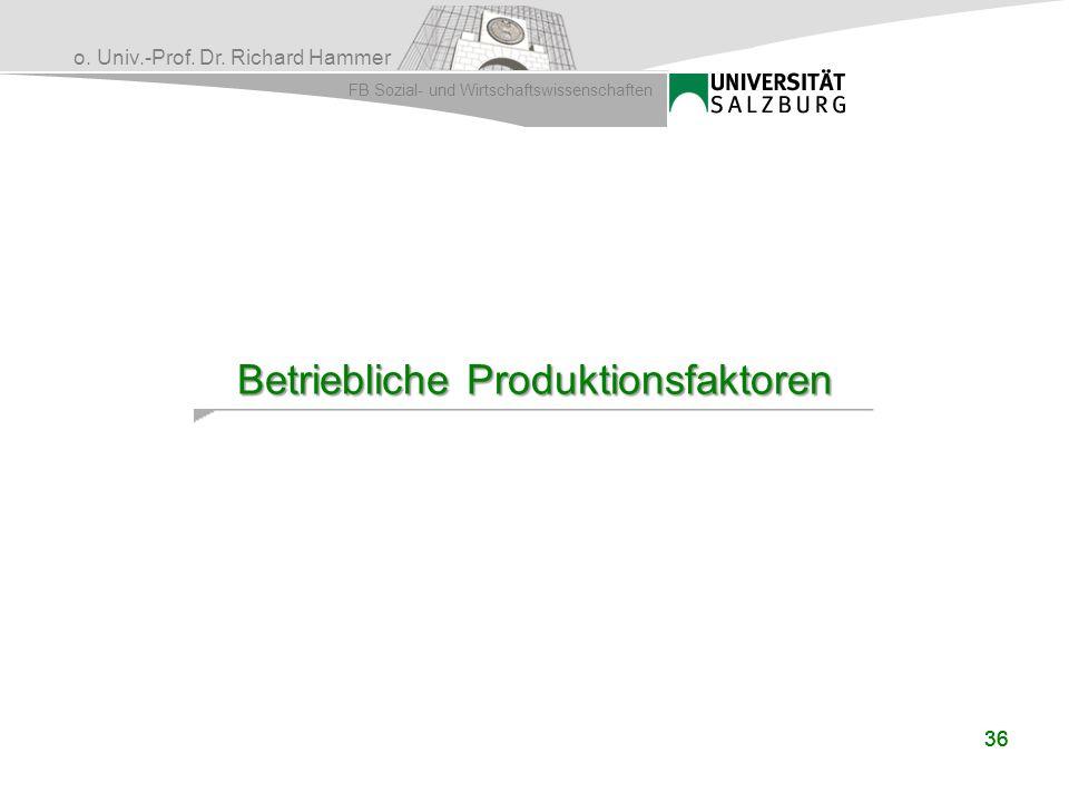 Betriebliche Produktionsfaktoren