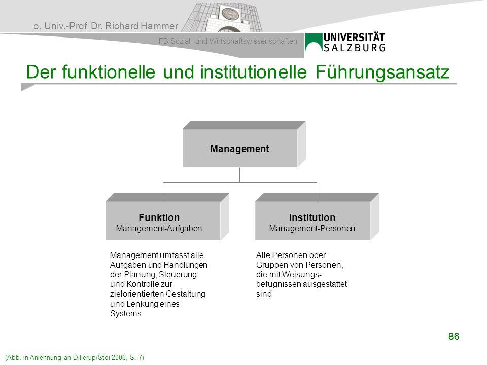 Der funktionelle und institutionelle Führungsansatz