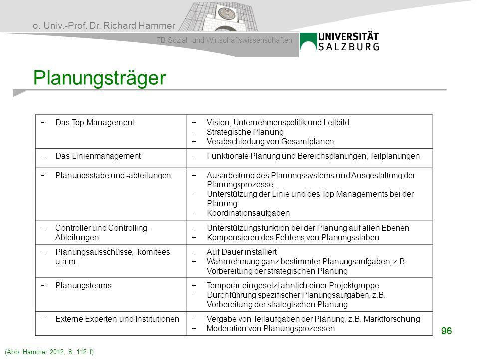 Planungsträger 96 96 Das Top Management