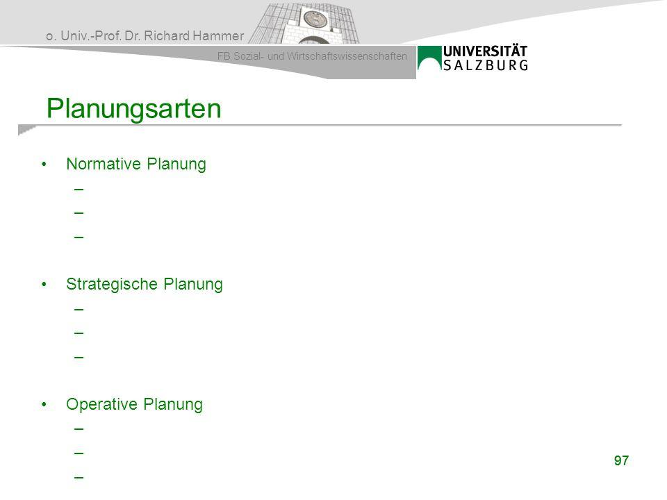Planungsarten Normative Planung Strategische Planung Operative Planung
