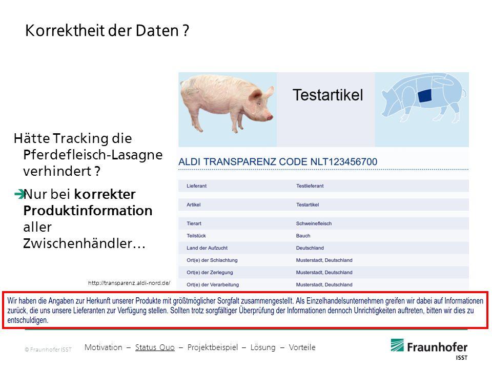 Korrektheit der Daten Hätte Tracking die Pferdefleisch-Lasagne verhindert Nur bei korrekter Produktinformation aller Zwischenhändler…