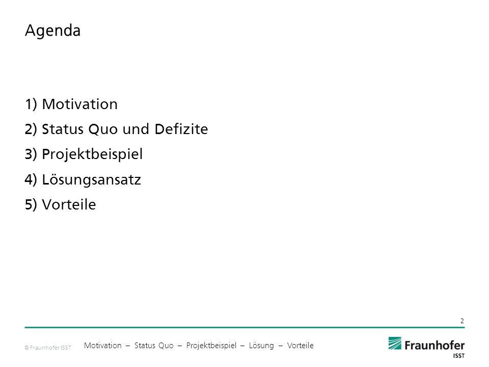 Agenda 1) Motivation 2) Status Quo und Defizite 3) Projektbeispiel 4) Lösungsansatz 5) Vorteile